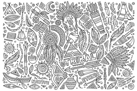 native american tomahawk: Tribal abstract ethnic native American set of symbols Illustration