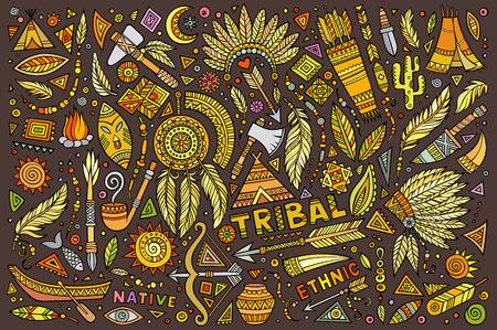 Tribal abstract ethnic native American set of symbols Illustration