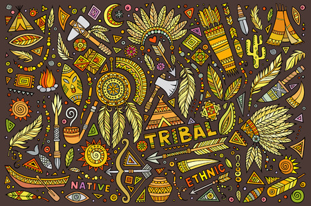 Tribal abstract ethnic native American set of symbols 向量圖像