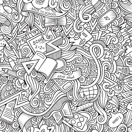 Cartoon vector doodles hand drawn school seamless pattern Vector