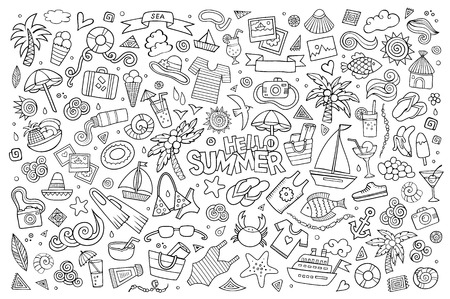 Summer beach hand drawn vector symbols and objects Vector