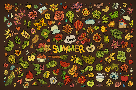 summer nature: Summer nature hand drawn vector symbols and objects