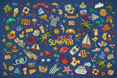 sunglasses cartoon: Summer beach hand drawn vector symbols and objects