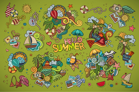 beach holiday: Summer and vacation hand drawn vector symbols and objects