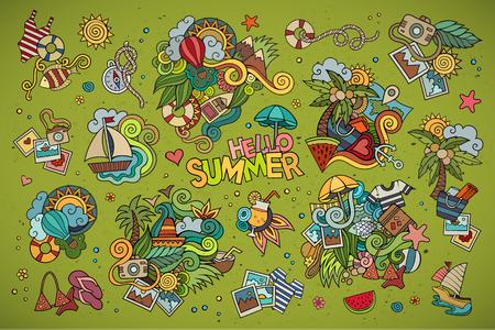 vacaciones en la playa: Verano y vacaciones dibujados a mano símbolos y objetos vectoriales