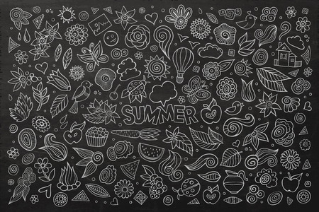 picnic park: Summer nature hand drawn vector symbols and objects
