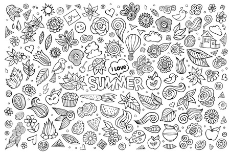 tree fruit: Summer nature hand drawn vector symbols and objects