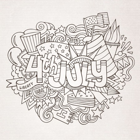 4th July Independence Day hand lettering and doodles elements background. Vector illustration Vector