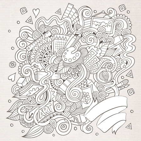 craft background: Cartoon vector sketchy doodles hand drawn art and craft background