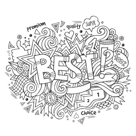 best hand: Mejor mano letras y garabatos elementos de fondo. Ilustraci�n vectorial