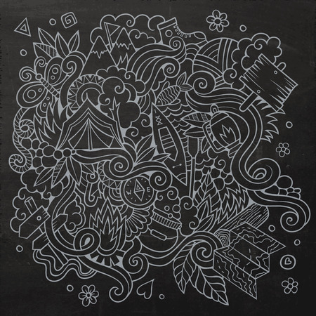 Cartoon vector doodles hand drawn camping chalkboard background