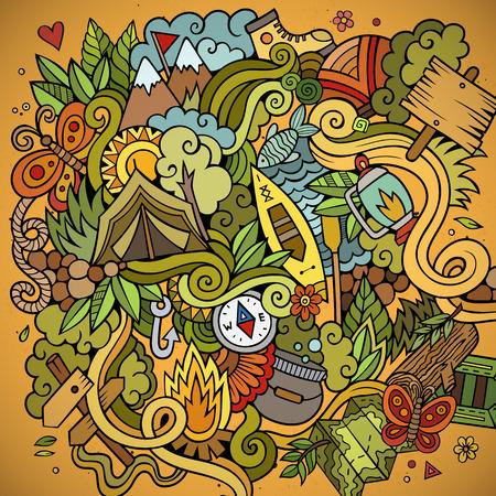 Cartoon vector doodles hand drawn camping background Illustration