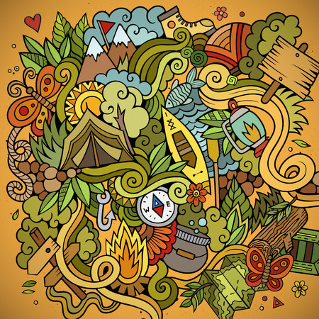 Cartoon vector doodles hand drawn camping background Vettoriali