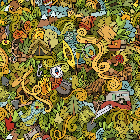 Cartoon vector doodles hand drawn camping seamless pattern Illusztráció