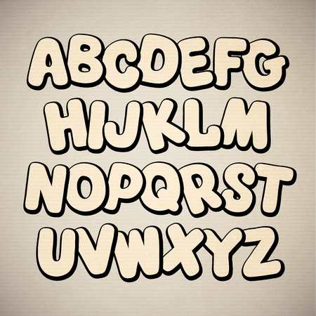 graffiti alphabet: Hand drawn cartoon doodle font. Vector alphabet