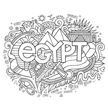 Egypt hand lettering and doodles elements background. Vector illustration Vector