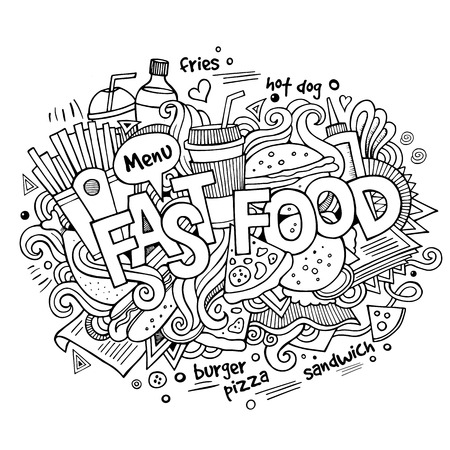 cucumber slice: Fast food hand lettering and doodles elements background. Vector illustration
