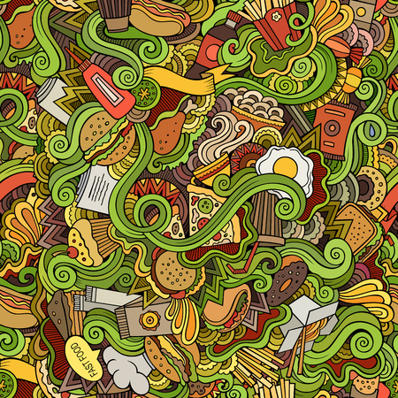 abstract food: Seamless hand drawn doodles abstract fast food pattern Illustration