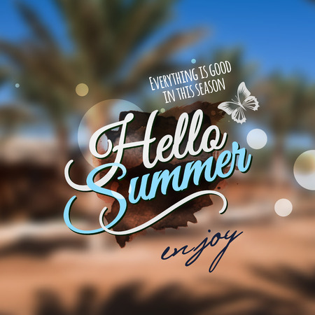 Hello Summer message. Vector abstract blurred background.