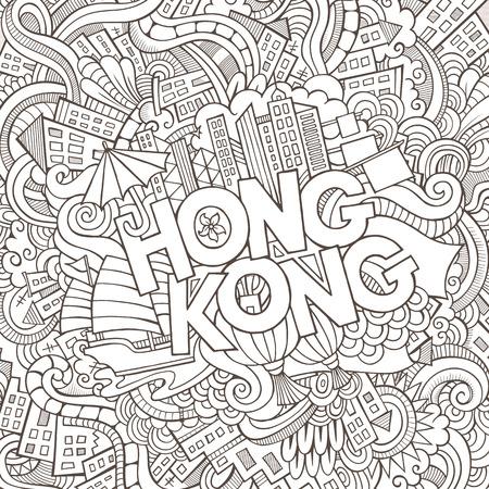 Hong Kong hand belettering en doodles elementen achtergrond. Vector illustratie