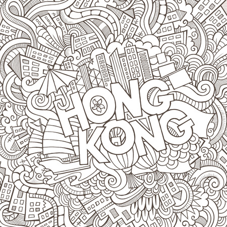 Hong Kong hand lettering and doodles elements background. Vector illustration
