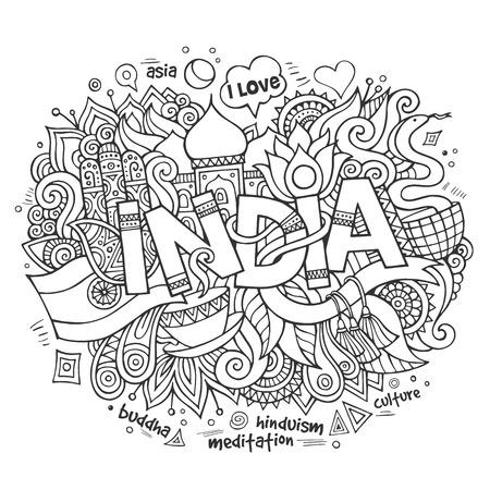 tea plantation: India hand lettering and doodles elements background. Vector illustration