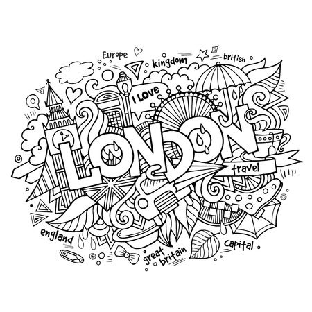 english culture: London hand lettering and doodles elements background. Vector illustration