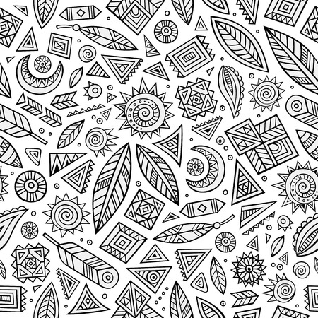 indian art: Tribal abstract native ethnic vector seamless pattern