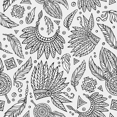 tribal pattern: Tribal abstract native ethnic vector seamless pattern