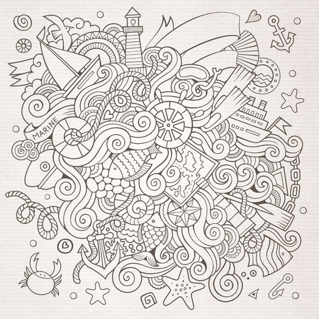 Doodles abstract decorative marine nautical vector background Vector