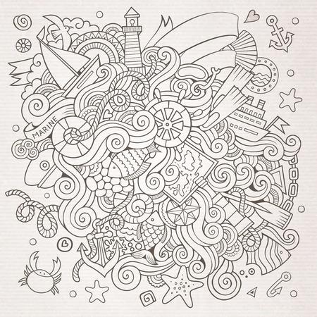 cruise cartoon: Doodles abstract decorative marine nautical vector background