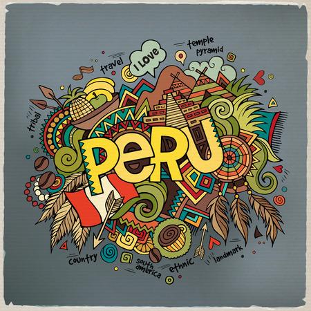 bandera de peru: Mano letras Perú y garabatos elementos de fondo. Ilustración vectorial Vectores