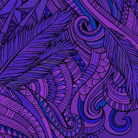 espiral: Mano dibujada ornamental decorativo del fondo del vector étnica Vectores