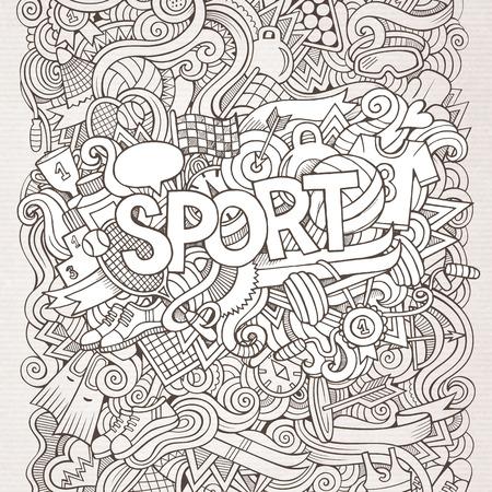 Sport hand lettering and doodles elements background. Vector illustration Vector
