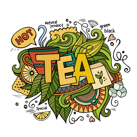 green tea leaf: Tea hand lettering and doodles elements background. Vector illustration