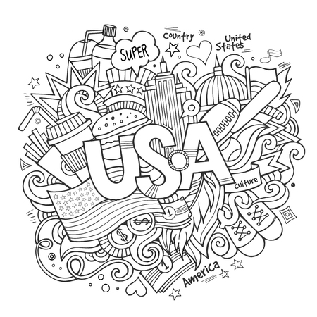 USA hand lettering and doodles elements background. Vector illustration Vector