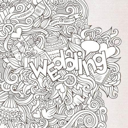 Wedding hand lettering and doodles elements sketch. Vector illustration Vector
