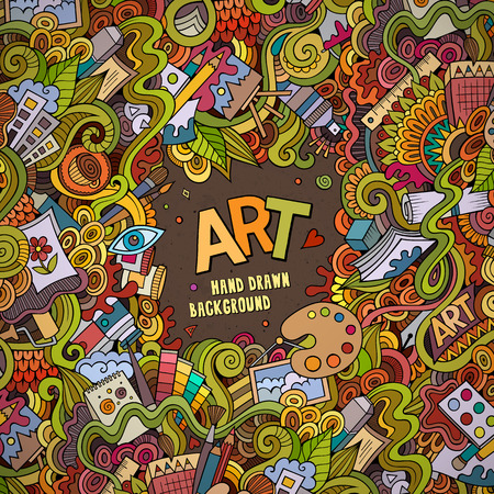 art and craft: Cartoon vector doodles hand drawn art and craft frame background