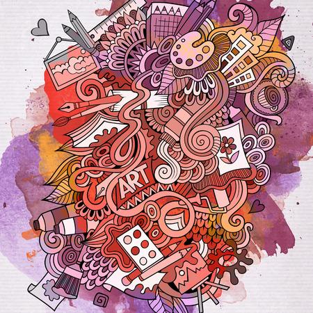 Art doodles elementen achtergrond van de waterverf. Vector illustratie
