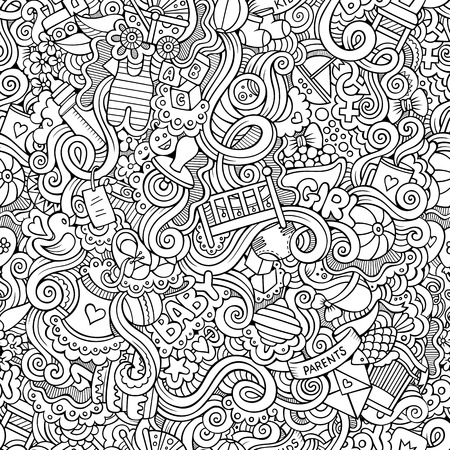 pampers: Cartoon vector doodles hand drawn children seamless pattern
