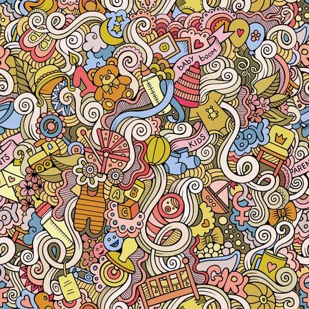 newborn: Cartoon vector doodles hand drawn children seamless pattern