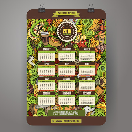 unhealthy diet: Doodles cartoon Fast food Calendar 2016 year design, English, Sunday start. Illustration