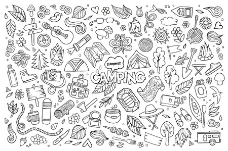 Camping nature hand drawn vector symbols and objects Stock Illustratie