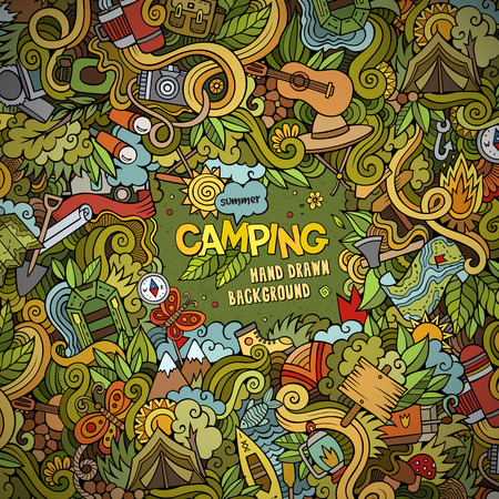 camp: Cartoon vector doodles hand drawn Camping frame background