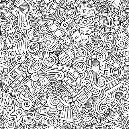 holiday blockbuster: Cartoon vector doodles hand drawn cinema seamless pattern