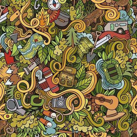 camping equipment: Cartoon vector doodles hand drawn camping seamless pattern Illustration