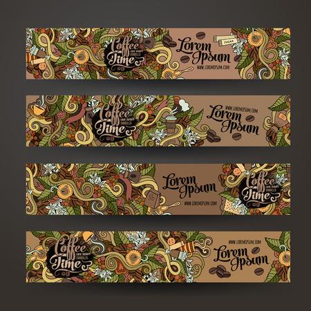 grano de cafe: Plantillas de banner de vector definido con el tema garabatos café Vectores