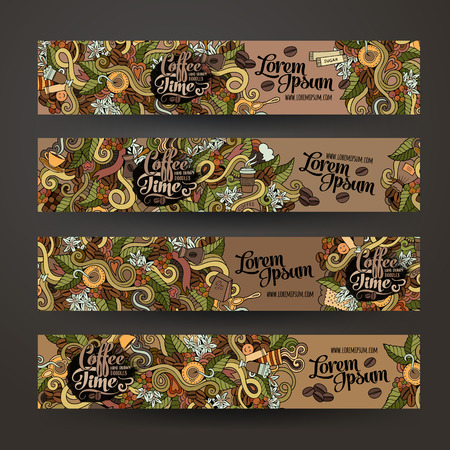coffee beans background: Vector banner templates set with doodles coffee theme