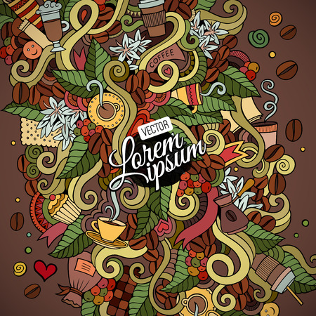 Doodles hand drawn abstract decorative coffee vector background Vectores