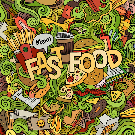 logo de comida: Letras de la mano Comida rápida y garabatos elementos de fondo. Ilustración vectorial